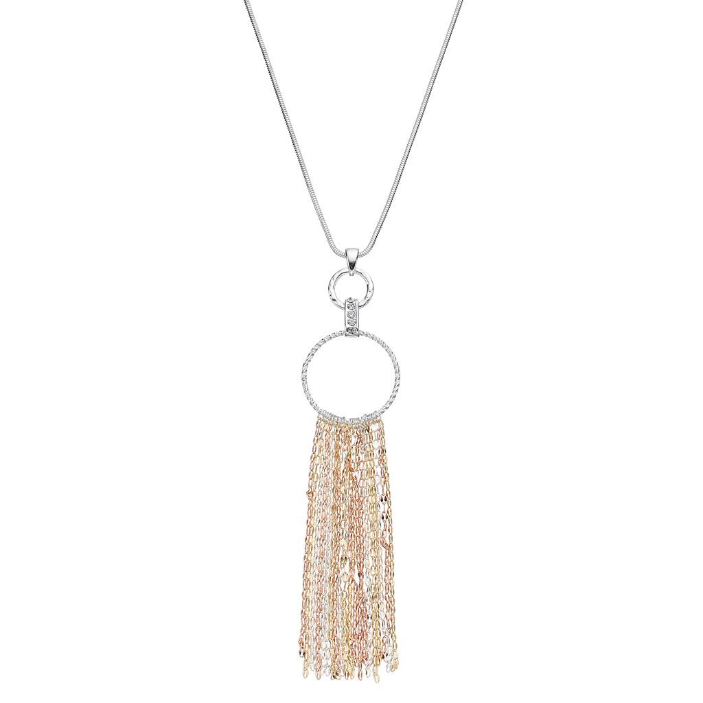 Jennifer Lopez Long Tri Tone Fringe Hoop Pendant Necklace