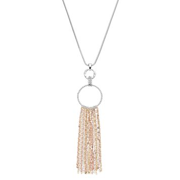 Jennifer Lopez Long Tri Tone Fringe Hoop Pendant Necklace