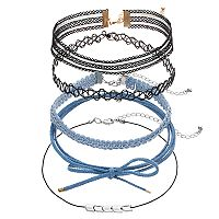 Mudd® Blue Denim Wrap & Tattoo Choker Necklace Set