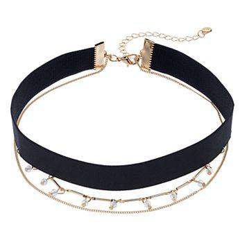LC Lauren Conrad Shaky Bead & Ribbon Multi Strand Choker Necklace