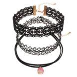 Mudd® Pink Simulated Drusy, Lace & Tattoo Choker Necklace Set