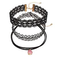 Mudd® Pink Simulated Drusy, Lace & Tattoo Choker Necklace Set