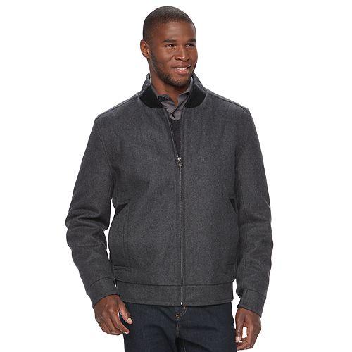 Men's Andrew Marc Wool-Blend Bomber Jacket