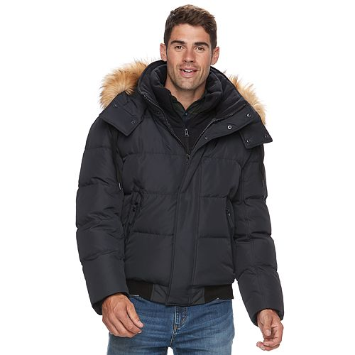 9529658a01a Men s AM Studio by Andrew Marc Down Faux-Fur Hooded Bomber Jacket