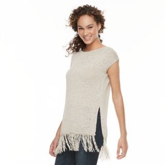 Women's WDNY Black Fringe Tunic Sweater