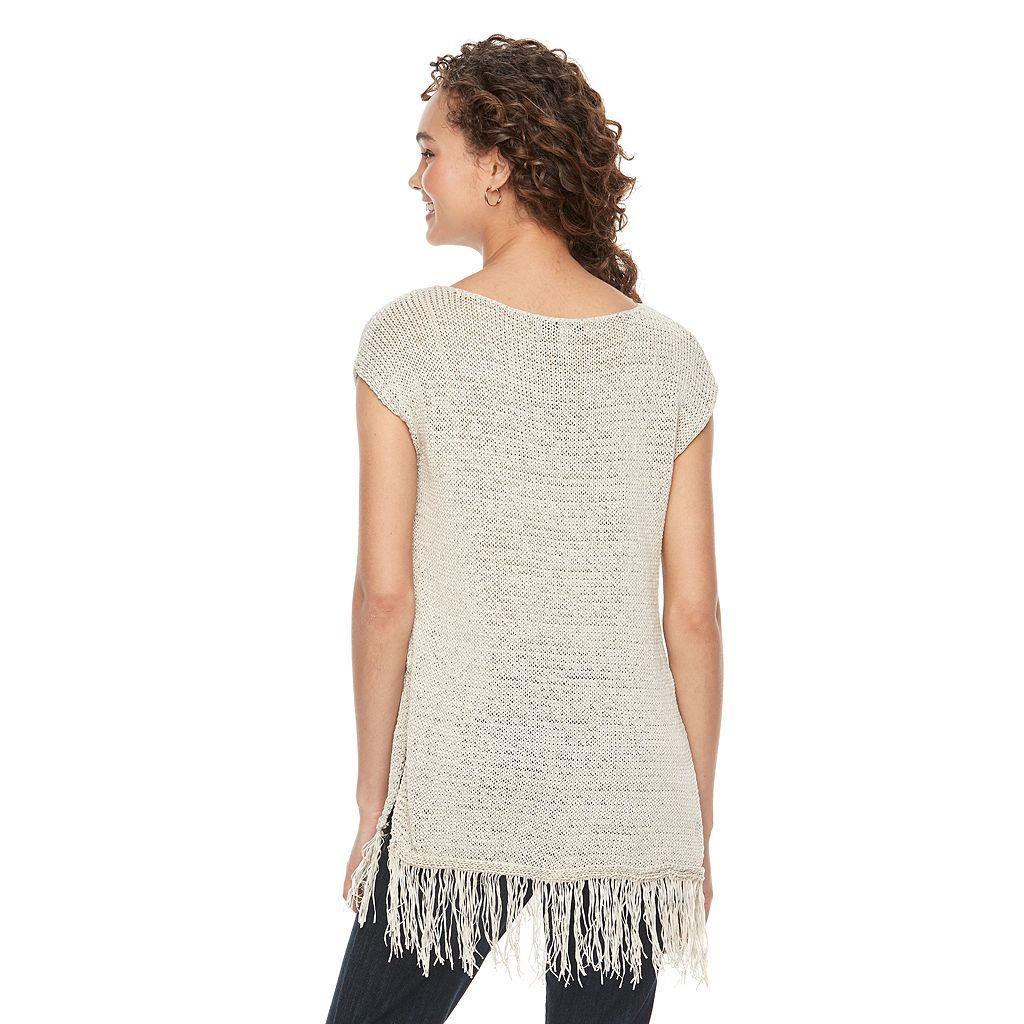 Women's WDNY Black Fringe Tunic Sweater