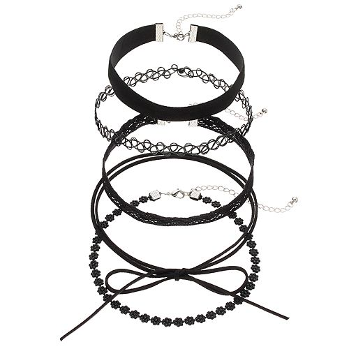 Mudd® Black Floral Lace, Wrap & Tattoo Choker Necklace Set