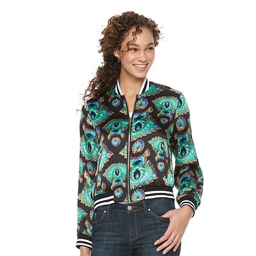 Women's WDNY Black Paisley Bomber Jacket
