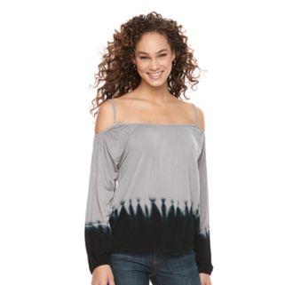Women's WDNY Black Off-the-Shoulder Dip Dye Top