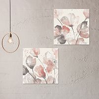 Artissimo Designs Neutral Pink Floral Canvas Wall Art 2 pc Set