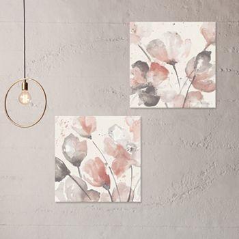 artissimo designs neutral pink floral canvas wall art 2 piece set