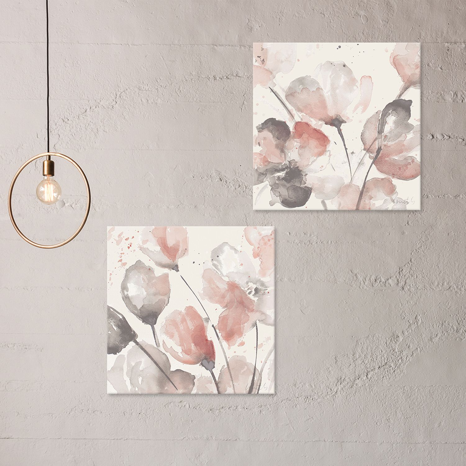 Artissimo Designs Neutral Pink Floral Canvas Wall Art 2 Piece Set
