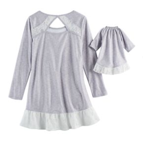 Girls 5-14 American Girl Lace Trim Nightgown & Doll Gown Pajama Set