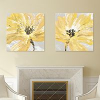 Artissimo Designs Fleur Jaune Canvas Wall Art 2 pc Set