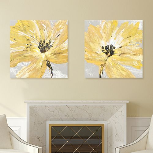 Artissimo Designs Fleur Jaune Canvas Wall Art 2-piece Set