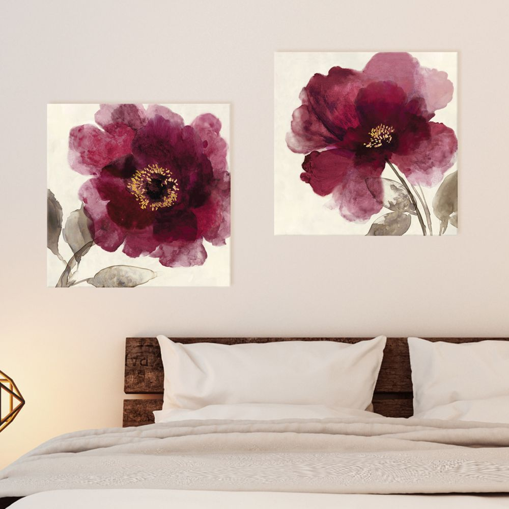 2 Piece Canvas Wall Art designs crimson peony canvas wall art 2-piece set