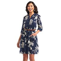 Women's Indication Belted Embroidered Shirtdress