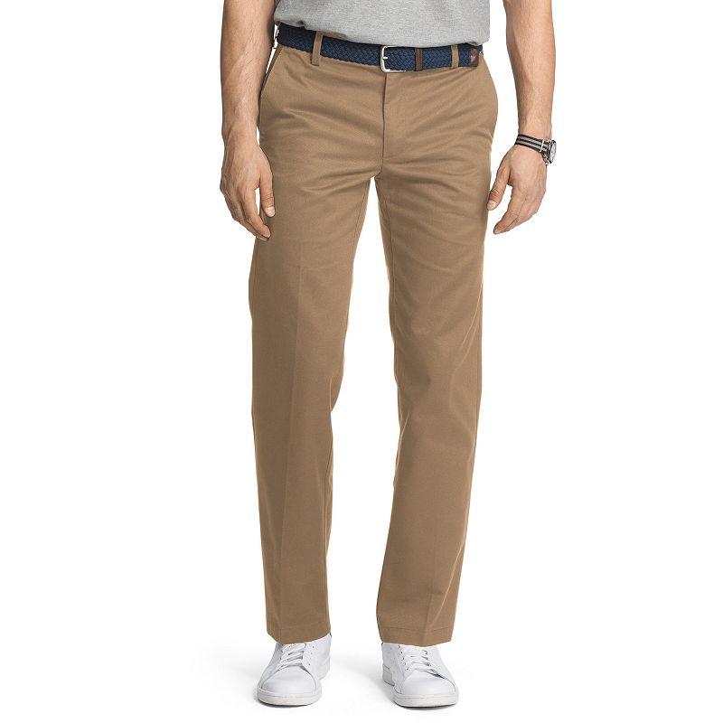Men's IZOD American Chino Slim-Fit Wrinkle-Free Flat-Front Pants, Size: 38X30, Med Beige