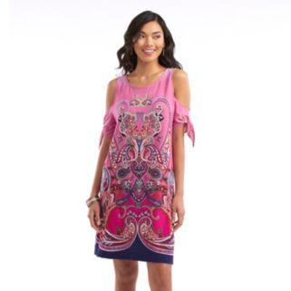 Women's Indication Cold-Shoulder Printed A-Line Dress