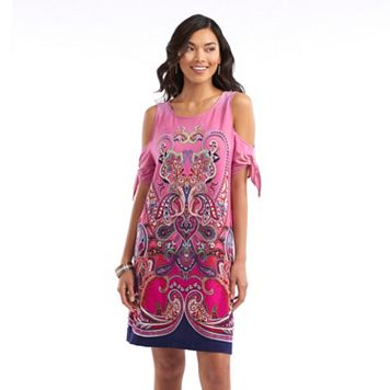 Women's Indication Cold-Shoulder Printed A-Line Dress