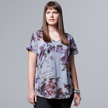 Plus Size Simply Vera Vera Wang Floral Tee