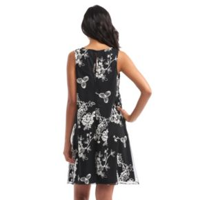 Women's Indication Embroidered Flower A-Line Dress