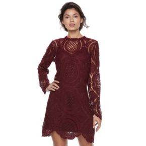 Juniors' Up by ultra pink Circle Lace Trapeze Dress