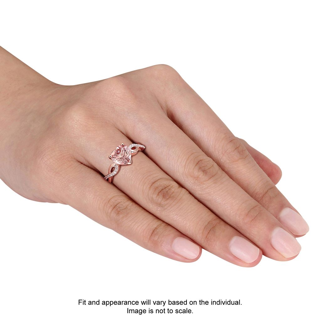 10k Rose Gold Morganite & 1/10 Carat T.W. Diamond Heart Ring
