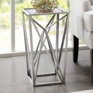 Madison Park Mirrored Silver Finish End Table