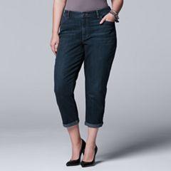 Plus Size Simply Vera Vera Wang Ripped Boyfriend Jeans