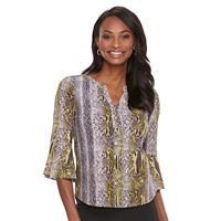 Women's Dana Buchman Bell Sleeve Henley Top
