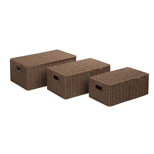 Honey-Can-Do 3-piece Parchment Cord Storage Box Set