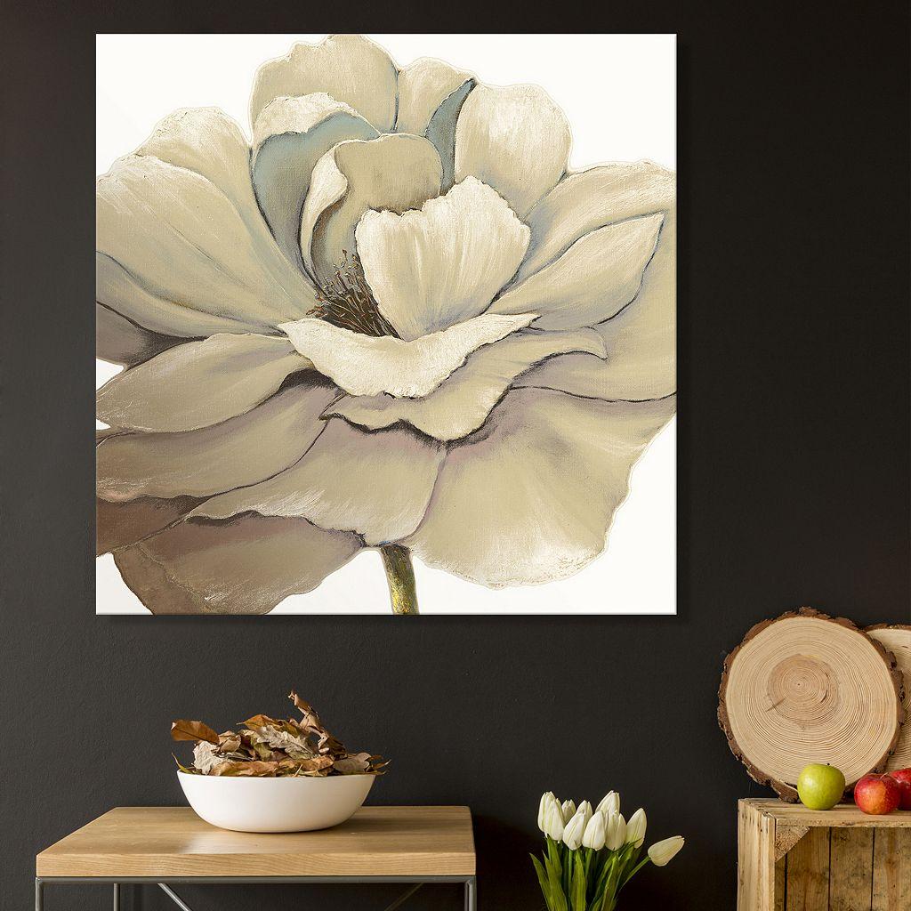 Artissimo Designs Cream Silken Bloom Canvas Wall Art