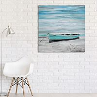 Artissimo Designs Lake Boat Canvas Wall Art