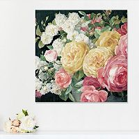 Artissimo Designs Antique Roses on Black Canvas Wall Art