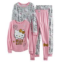 Girls 4-10 Hello Kitty® 4 pc Long Sleeve Tops & Bottoms Pajama Set