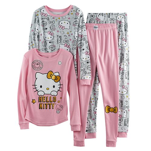 Girls 4-10 Hello Kitty® 4-pc. Long Sleeve Tops & Bottoms Pajama Set