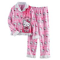 Girls 4-12 Hello Kitty® Button-Front Top & Bottoms Pajama Set