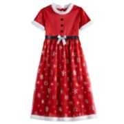 Girls 4-8 Mrs. Claus Faux-Fur Dress-Up Nightgown