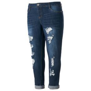 Juniors' Plus Size Hydraulic Emma Ripped Cuffed Skinny Jeans