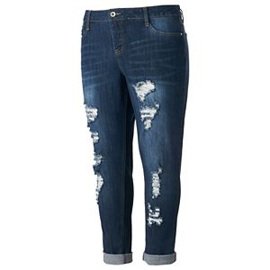 Juniors' Plus Size Hydraulic Emma Ripped Cuffed Skinny Jeans