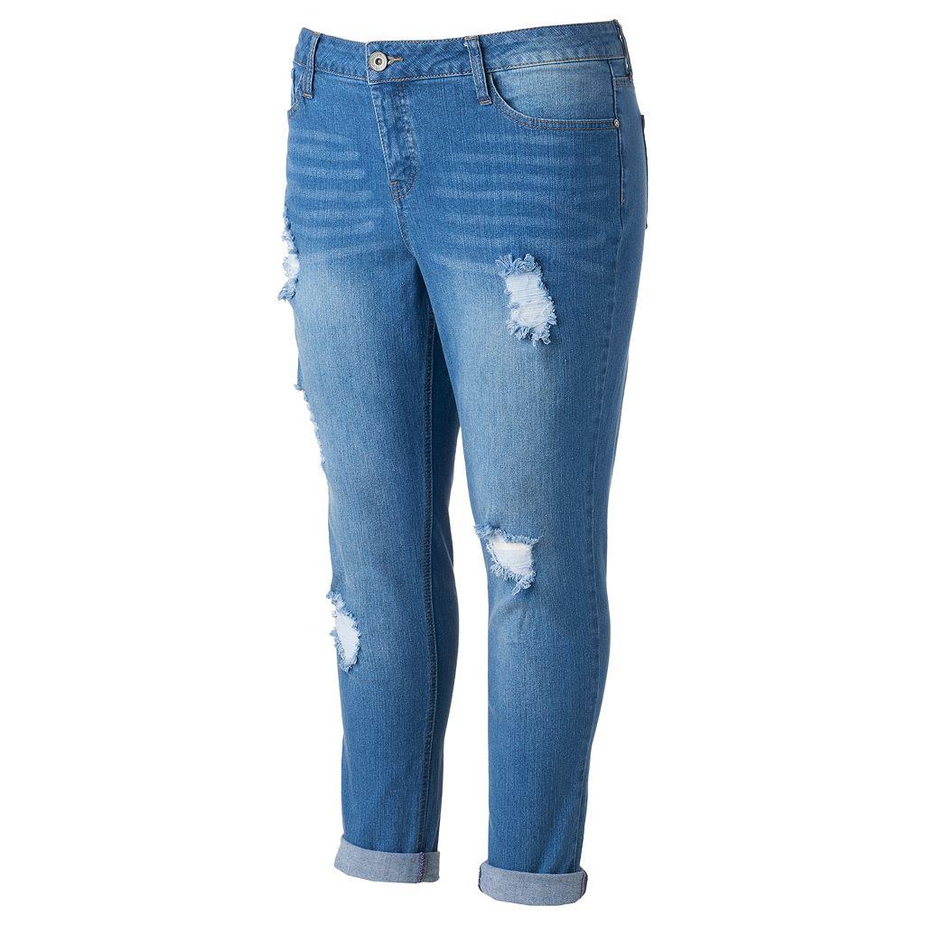 Juniors' Plus Size Hydraulic Emma Ripped Skinny Jeans