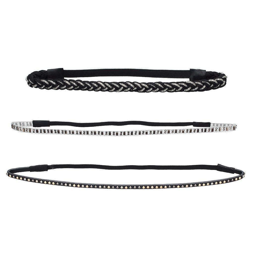 Mudd® Braided, Chiffon & Studded Stretch Headband Set