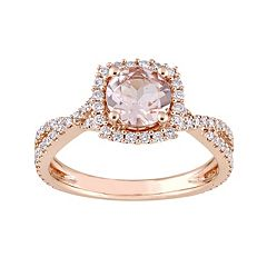 14k Rose Gold Morganite & 1/2 Carat T.W. Diamond Halo Ring