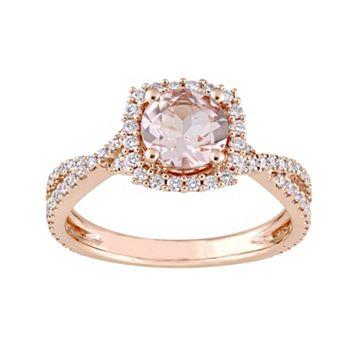 14k Rose Gold Morganite & 1/2 Carat T.W. Diamond Halo Ring