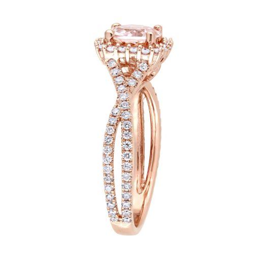Stella Grace 14k Rose Gold Morganite & 1/2 Carat T.W. Diamond Halo Ring