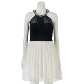 Juniors' Speechless Illusion Halter Dress