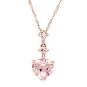 14k Rose Gold Morganite & Diamond Accent Linear Heart Pendant