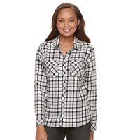 Petite Croft & Barrow® Flannel Plaid Button-Down Shirt