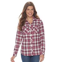 Petite Croft & Barrow® Flannel Plaid Button-Down Shirt